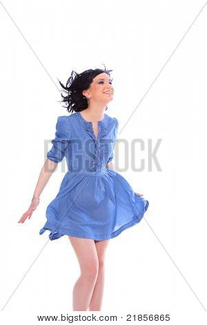 Woman in blue dress over white background poster