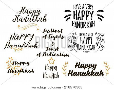 Vector set of lettering lettering text sign happy Hanukkah. Collections of beautiful Hanukkah title for greeting card, flyer, web, banner. Jewish typography set.