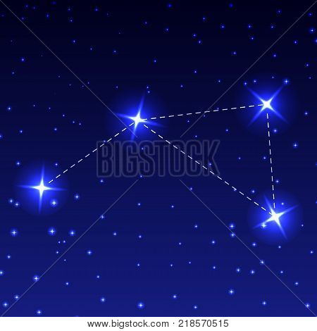 The Constellation Pump in the night starry sky. Vector illustration of the concept of astronomy