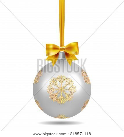 Silver Christmas ball with ribbon and a bow and snowflake isolated on white background. Template of matt realistic Christmas ball. Stocking element christmas decorations. Isolated object. Vector