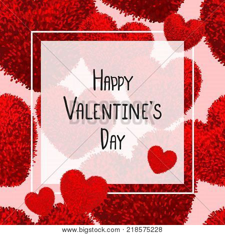 Happy Valentines Day greeting card with red fluffy heart, soft toy and square over of the illustration. Vector illustration. Can be used as poster, flyers, invitation, brochure, banners, sale