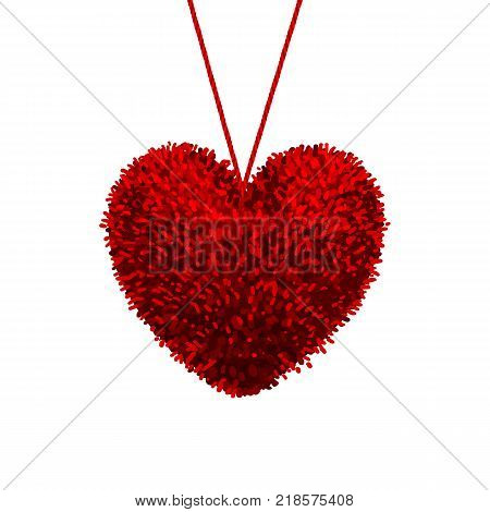 Vector colorful illustration of fluffy pom-pom in the shape of a heart hanging on the rope, isolated on white background. Decorative elements for Valentines day design.