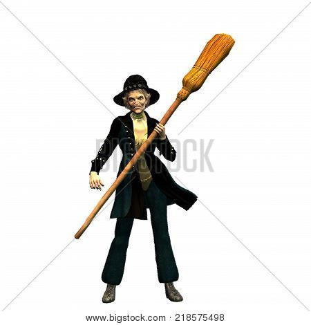 3D render in png format with transparent background of Befana standing with flying broom