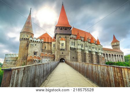 Beautiful panorama of the Corvin castle with wooden bridge, Hunedoara, Transylvania, Romania, Europe