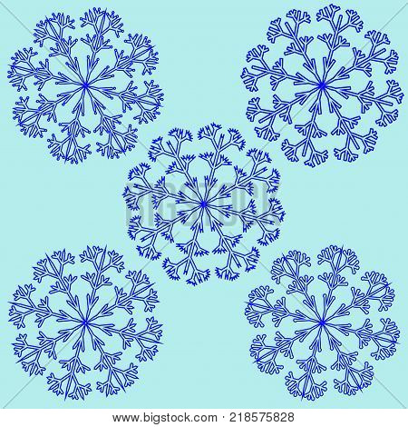Snowflake sign set. Blue ice icons isolated on white background. Winter design. Image of snow season. Cold ornament symbol. Logo for christmas or frozen celebration. Stock vector illustration