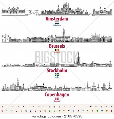 abstract vector illustration of Amsterdam, Brussels, Stockholm and Copenhagen city skylines in black and white color palette. Flags of Netherlands, Belgium, Sweden and Denmark. Location icons