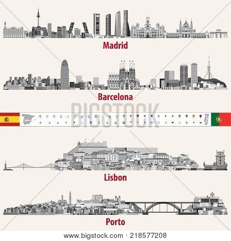 Vector skylines of Madrid, Barcelona, Lisbon and Porto cities in grey scales color palette. Flags and maps of Spain and Portugal. Navigation and location icons.