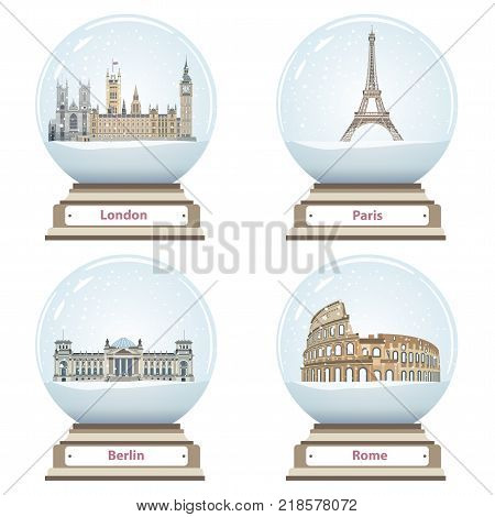 vector snow globes with London, Paris, Berlin and Rome landmarks inside