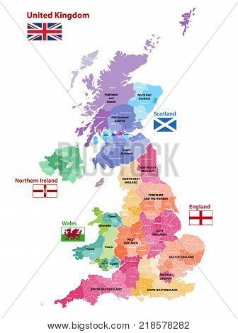 vector map of United Kingdom colored by countries, counties and regions