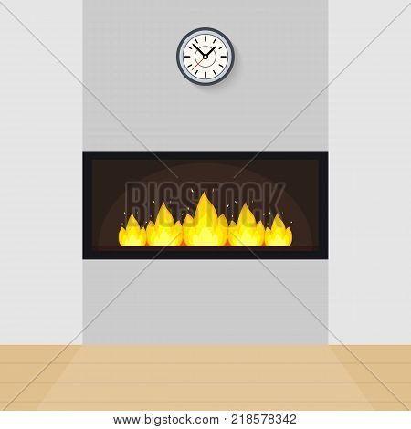 Vector illustration of modern fireplace built in the wall, with clock above and parquet floor.