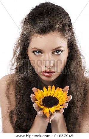 Pretty Girl With Sunflower