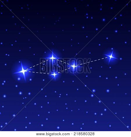 The Constellation Small Lion in the night starry sky. Vector illustration of the concept of astronomy