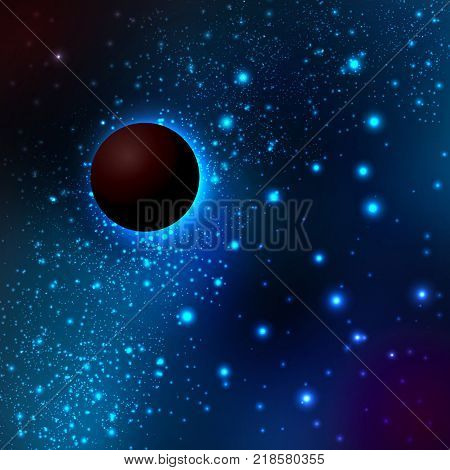 A dark planet in space against the background of the Milky Way and stars. Vector illustration of the concept of astronomy