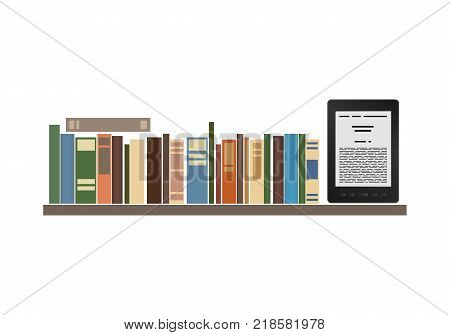 Books and e-book on a shelf on a white background. Vector illustration.