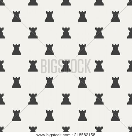 Seamless pattern with chess pieces. Chess rook. Vector illustration