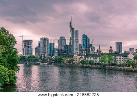 View to the beautiful City of Frankfurt and the modern Skyline. In Germany Frankfurt 2017