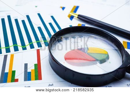 Charts Graphs paper. Financial development, Banking Accounting, Statistics, Investment Analytic research data, Stock exchange market trading, Mobile office reporting Business company meeting concept.