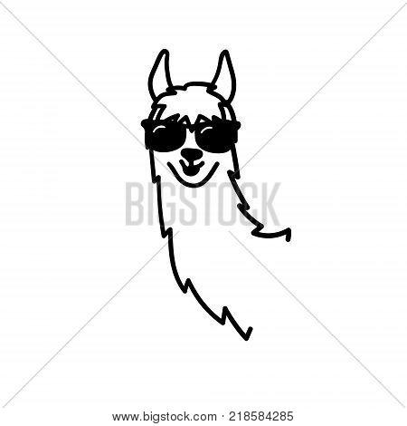 Vector Illustration Of Cute Character South Lama. Isolated Outline Cartoon Baby Llama. Hand Drawn Pe
