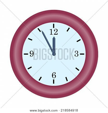 Red Clock Minute Hand On Five To Twelve Hour Simple Vector Icon Illustration Concept Of Last Chance