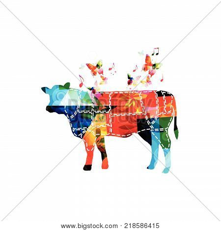 Meat cuts. Diagrams for butcher shop. Scheme of beef. Animal silhouette beef isolated vector illustration