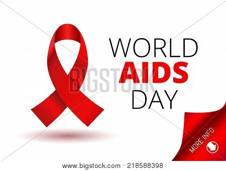 Vector Stock Illustration for World AIDS Day. 1st December World Aid Day Awareness poster with red ribbon and round paper corner for inform web-banner or poster on white background.