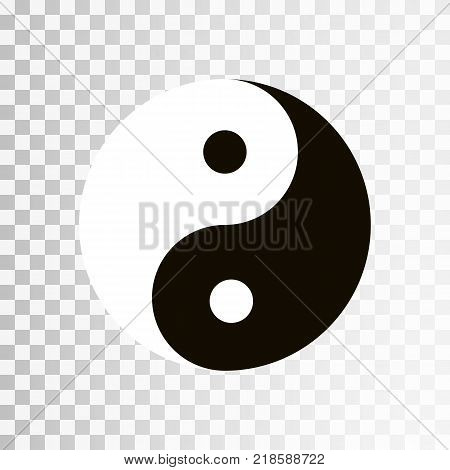 Yin Yang symbol. Vector icon of harmony and balance, yinyang sign isolated on transparent background. EPS 10