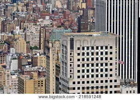 NEW YORK CITY USA - AUG. 26: Manhattan view of downtown from above on August 26 2017 in New York City NY. Manhattan is the most densely populated borough of New York City.