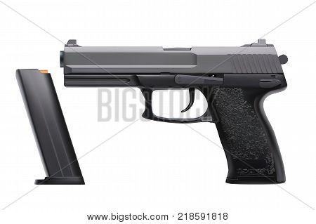 illustration of realistic modern handgun isolated on white background