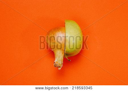 Cut Half Of Vegetables And Fruits Of A Combination Of Fruits And Vegetables. Mixed Fruit And Vegetab