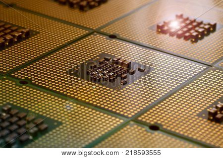 Close Up of aligned CPU Computer Processors