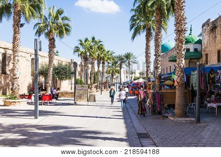 Acre Israel November 03 2017 : El Jazzar street in the fortress in the old city of Acre in Israel