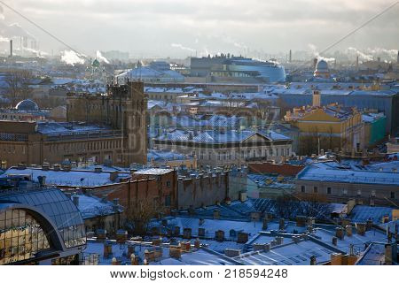 Roofs houses and urban landscape of the Admiralty district of St. Petersburg. Views of downtown from the St. Isaac's Cathedral. Russia