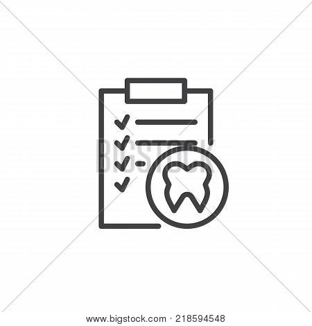 Clipboard with human tooth line icon, outline vector sign, linear style pictogram isolated on white. Docs dental paper symbol, logo illustration. Editable stroke