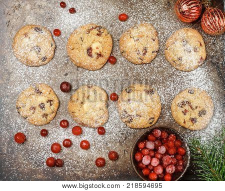 Cranberry (cowberry, Lingonberry) Cookies With White Chocolate And Powdered Sugar. Homemade Treats F