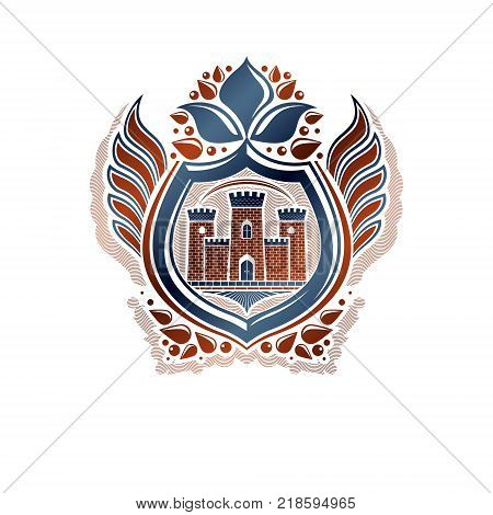 Heraldic Coat of Arms decorative emblem with medieval stronghold and lily flower isolated vector illustration. Winged protection shield defense.