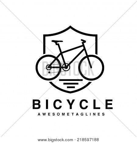 Bike badge outline vector illustration. Bike shield icon isolated. Bike rescuer logo symbol. Bike logo for bicycle design. Training concept bike badge isolated logo. Bicycle badge vector isolated