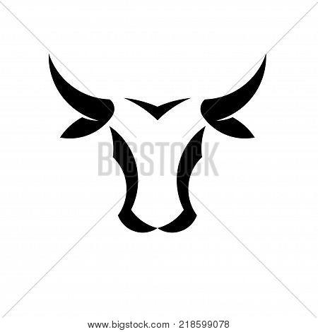 abstract simple Bull head vector logo concept illustration, Buffalo head logo, Bull head logo. Bull Animal logo sign,