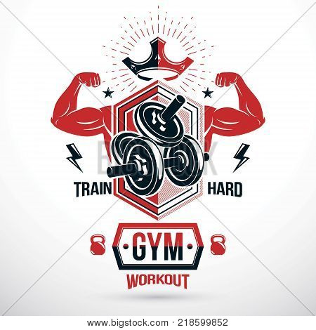 Graphic vector insignia created with strong sportsman biceps arm disc weight dumb bell and kettle bell sport equipment. Sport emblem for weightlifting gym and fitness club
