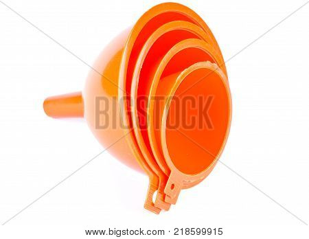 A set of household funnels isolated on white
