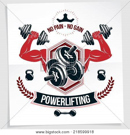 Weight-lifting championship promotion flyer. Vector composition of muscular bodybuilder arm holds disc weight dumbbell sport equipment. No pain no gain writing.