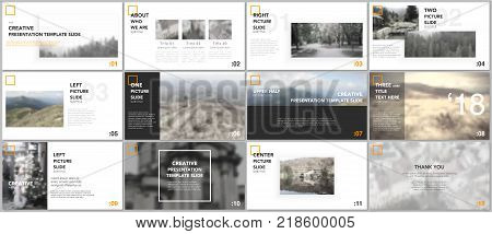 Clean and minimal presentation templates. Yellow color elements on a white background. Brochure cover vector design. Presentation slides for flyer, leaflet, brochure, report, marketing, advertising