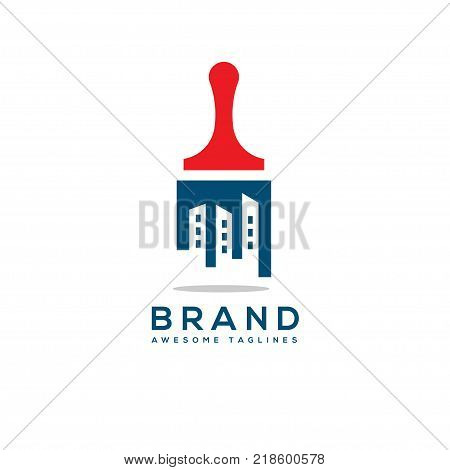 real estate Painting Service logo concept, Home Painting Service. Creative Painting Concept for your business, home decor and renovations logo concept, paint and color service logo