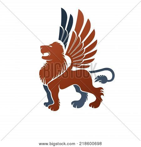Winged Gryphon mythical animal ancient emblem element. Heraldic vector design element. Retro style label heraldry logo.