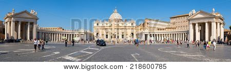 ROME,ITALY - JULY 21,2017 : Very high resolution panoramic view of the Vatican City and Saint Peter Basilica