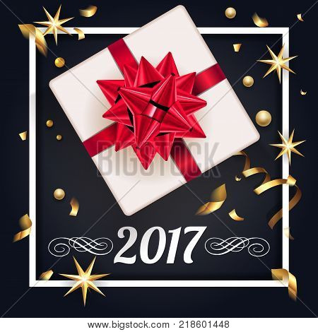 Christmas greeting card with gift box and gold bow, christmas tree. Happy New Year decoration with confetti and light garland. Christmas typographical background with fir branches and elements. Vector