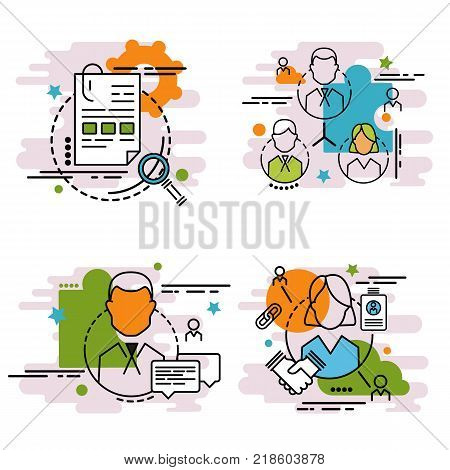 Set of outline icons of team.  Colorful icons for website mobile app design and print.Colorful icons for website mobile app design and print.