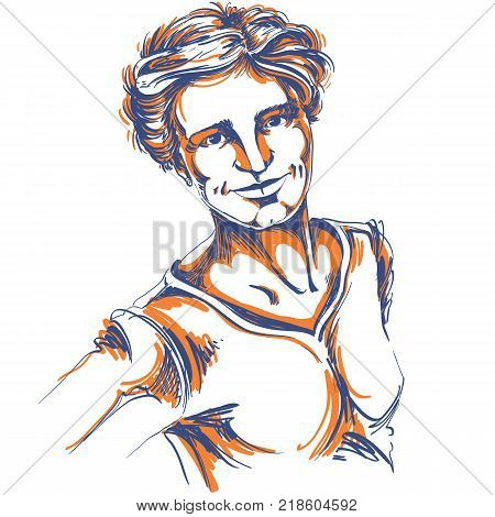 Artistic hand-drawn vector image portrait of delicate kind stylish girl. Emotions theme illustration good face expressions. Portrait of Caucasian type girl.