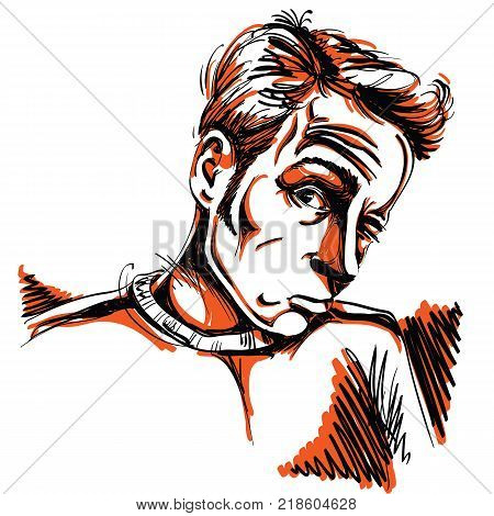 Vector drawing of drunk man or gambler with wrinkles on his forehead. Colorful portrait of tricky guy.