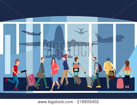 Traveler People Airport Hall Departure Terminal Travel Baggage Bag Suitcase. Flat Design Style Interior of Terminal Hall with Passenger.