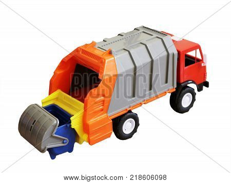 Vivid Toy Garbage Truck From Plastic Isolated On White Background